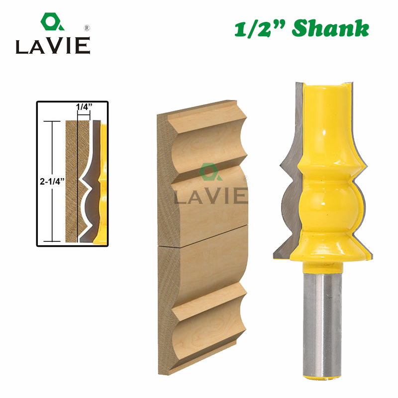 LAVIE 1pc 12mm 1/2 Shank Lamp Model Armrest Crown Molding Router Bit Concave Radius Bits Tenon Cutter For Woodworking 03048