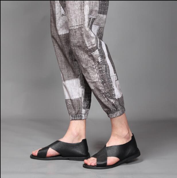 2018 nuevo estilo de pelo de estilista T shirt traje de verano de material de cáñamo de manga corta 9 minutos pantalones traje de marea L 4XL - 4