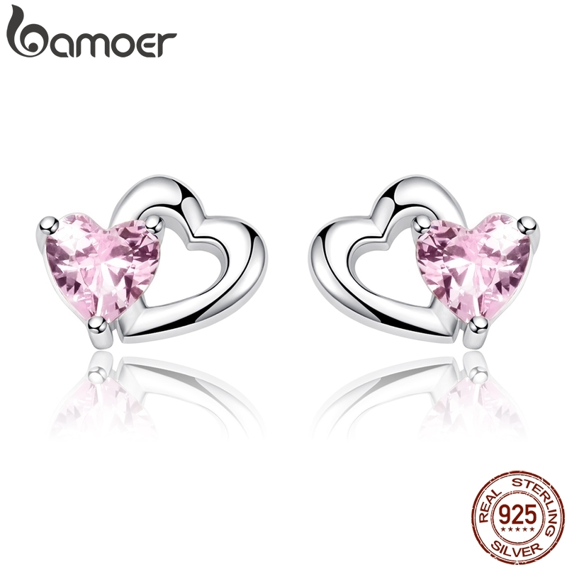 BAMOER 925 Sterling Silver Double Heart to Heart Pink CZ Stud Earrings for Women Brincos Fine Jewelry Bijoux SCE090BAMOER 925 Sterling Silver Double Heart to Heart Pink CZ Stud Earrings for Women Brincos Fine Jewelry Bijoux SCE090