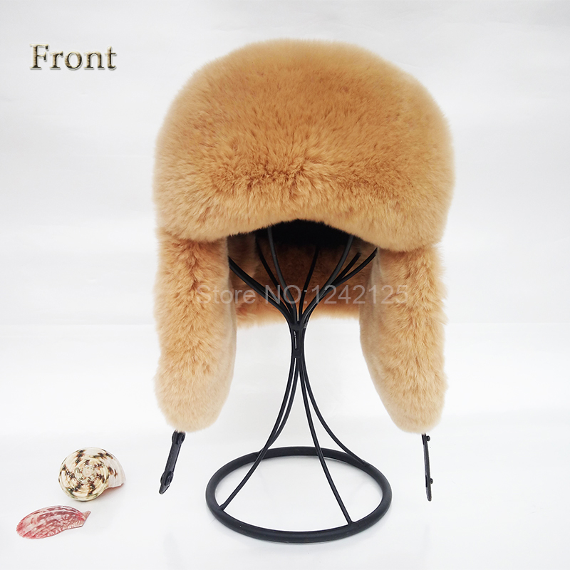 New Winter child boy girl Russia fur real rex rabbit hat earmuffs genuine leather top kids fur earflaps ear children fur hat cap new autumn winter warm children fur hat women parent child real raccoon hat with two tails mongolia fur hat cute round hat cap