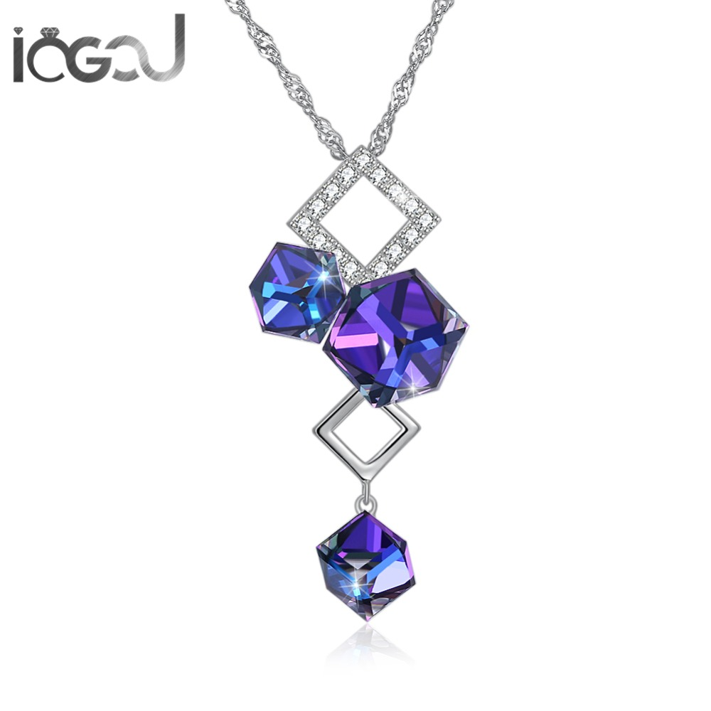 IOGOU Blue Lovely Bear Crystal From Swarovski Necklace Solid 925 Sterling Silver Mujer's Pendent Necklace Chain