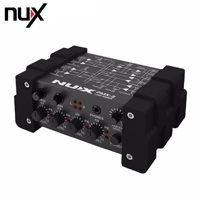 NUX PMX-2 Multi-Channel Line Mixer Master Level Indicator fit Several Audio Devices For Electric Guitar Bass New Free Shipping nux pmx 2u electric guitar bass usb audio interface i o line mixer 6 inputs