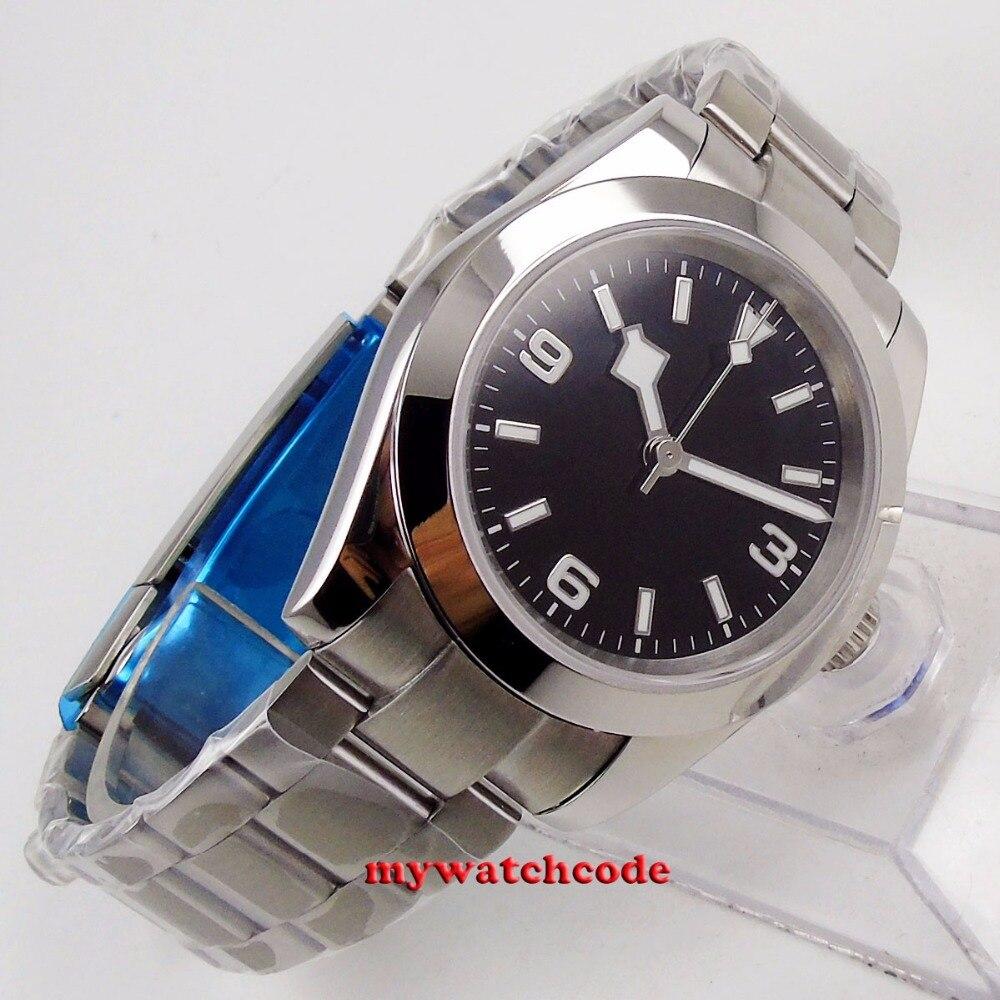 40mm bliger estéril mostrador preto floco de neve mão aço caso sólido vidro safira automático relógio masculino b201 - 4