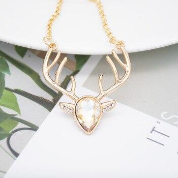 30 Zircon Love heart Elk Head Small Art Elf Antlers pendant Necklace Animal Fox Christmas Deer Necklace Lucky Amulet Jewelry