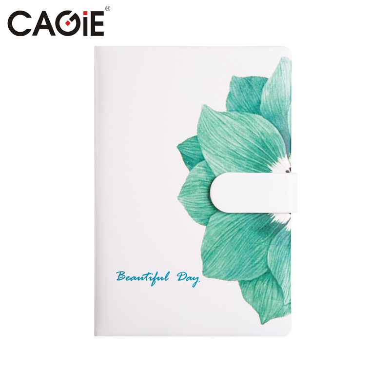 CAGIE Cute Notebook Flower Pattern Fitted Lines Notebooks Kawaii Leather Planner a5 Filofax Women Travelers Notebook Diary cagie vintage mini libreta notebook women flowers printing faux leather diary journal pocket filofax a6 travelers notebooks