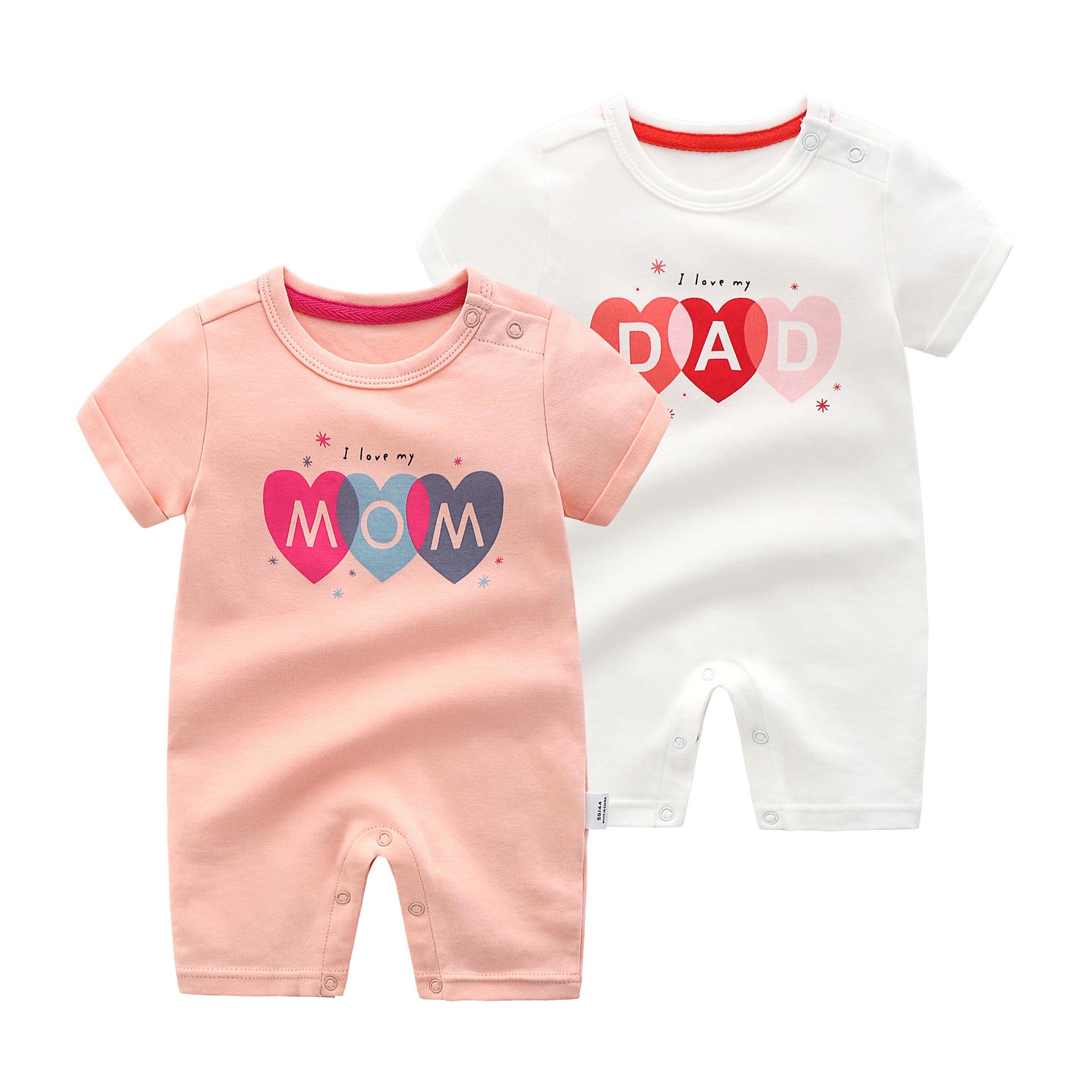 Baby Rompers I Love My Dad Mom Newborn Infant Boys Girls
