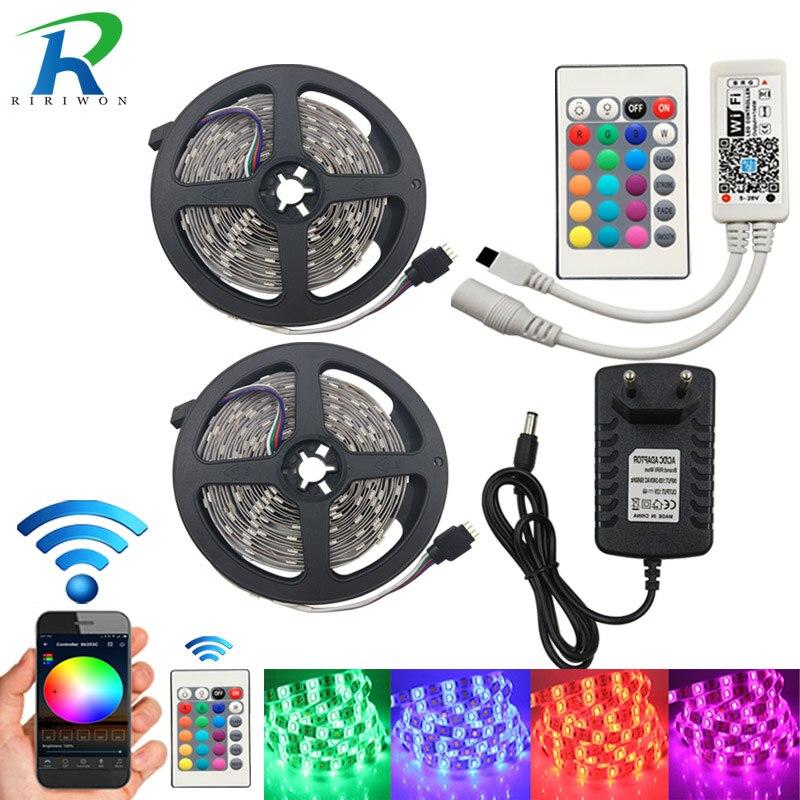 LED Strip Light RGBW RGB Waterproof 5m 10m 15m WiFi Music Control Diode Tape LED Stripe Ribbon WiFi Contrller EU Adapter DC 12V