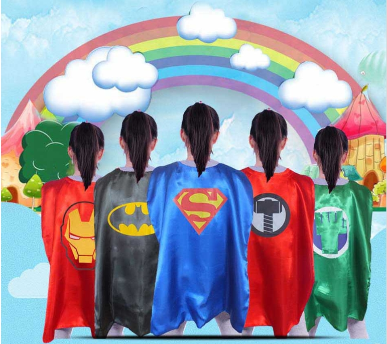 2-layer superhero cosplay cape and mask for kids and adults of 5 sizes Super Hero costumes Halloween birthday party supplies
