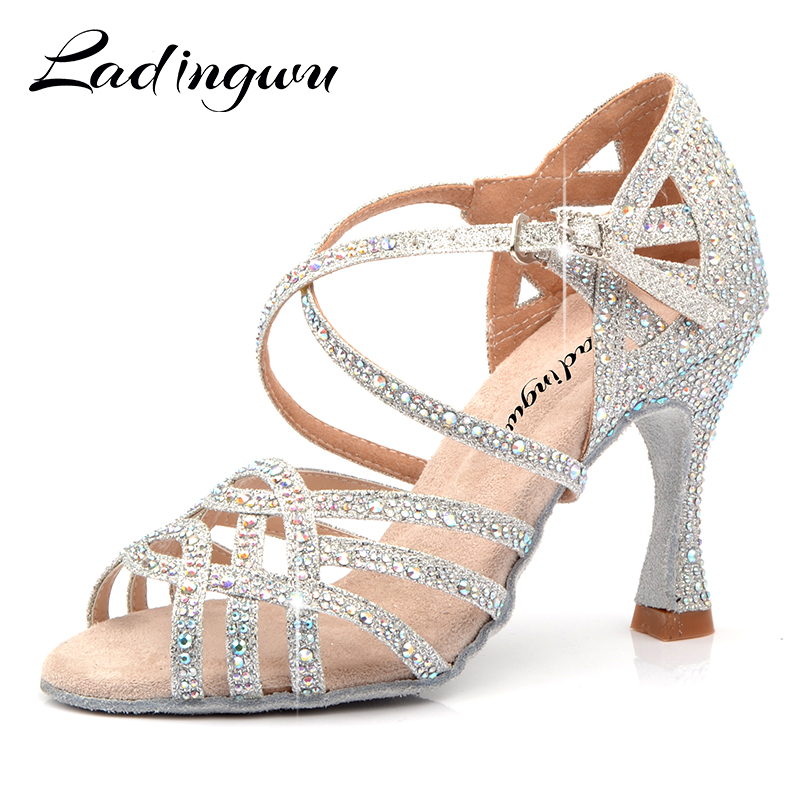 Ladingwu Rhinestone Latin Dance Shoes Women Salas Ballroom Shoes Pearl High Heel Waltz Software Shoes Hot Sale Silver Blue