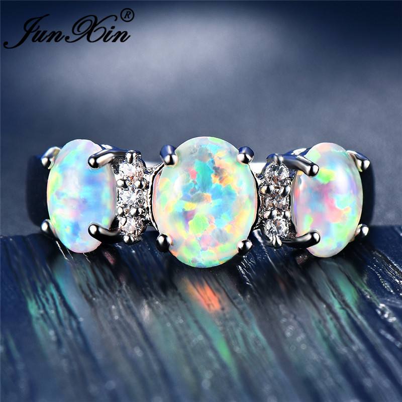 947384d8f9388 US $4.99 90% OFF|JUNXIN Luxury Female Big Oval Stone White Fire Opal Rings  For Women 925 Sterling Silver Filled Rainbow Birthstone Crystal Ring-in ...