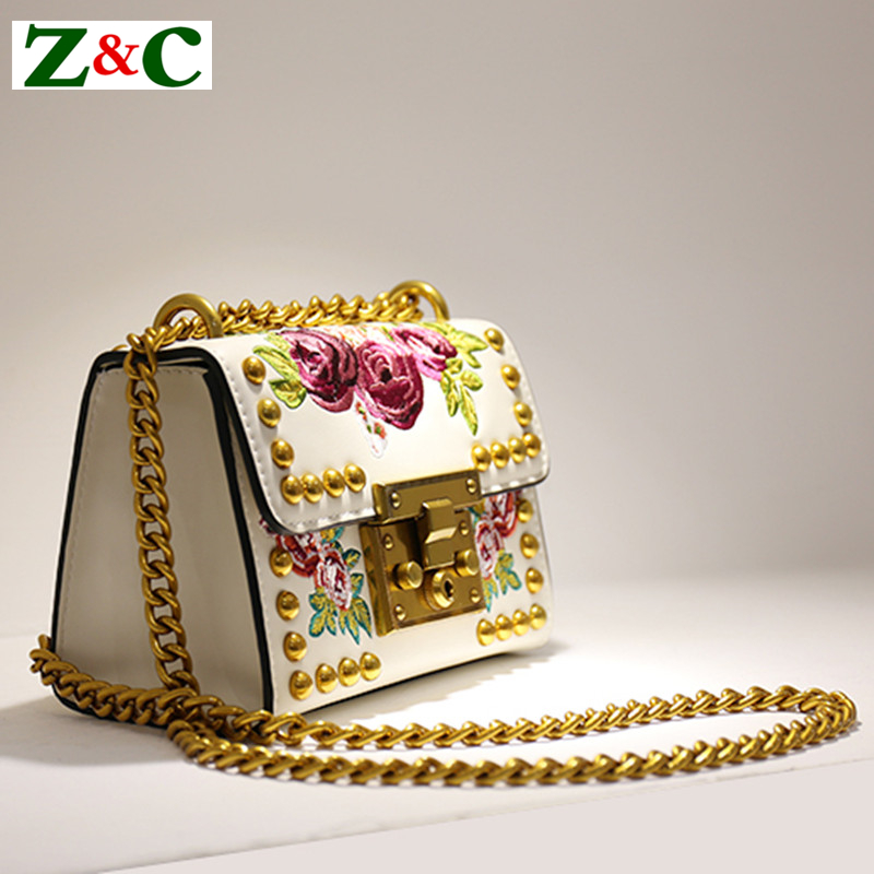 2018 Luxury Women Gold Metal Rivets Locks Chains Bag Embroidery Flowers Split Leather Handbags Shoulder Crossbody Messenger Bags a three dimensional embroidery of flowers trees and fruits chinese embroidery handmade art design book