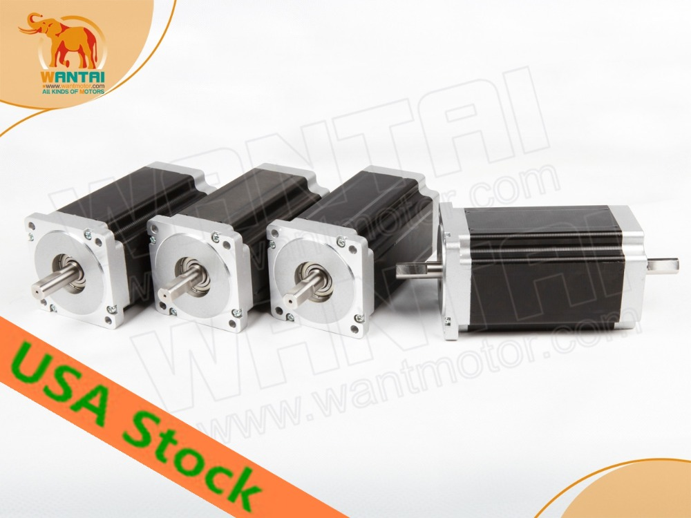 Ship From USA! Wantai 4PCS Nema34 Stepper Motor 85BYGH450C-012B Dual Shaft 1600oz-in 3.5A 4-Lead 2Phase Milling Laser