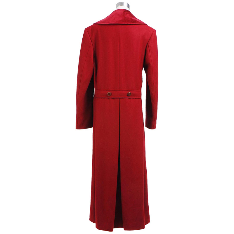 Doctor Who 4th Doctor Coat Cosplay Costume Long Red Wool Trench Fall Winter Outerwear Halloween Christmas Coat - 3