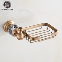 Antique Brass Bathroom Kitchen Soap Dish Wall Mounted Copper Soap Dish Holder Basket Free Shipping