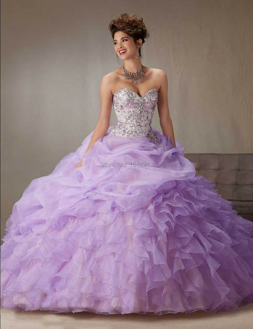 e9920a21317 Custom Made Shiny Beaded Light Purple Pink Ball Gown Quinceanera Dress  Vestido Girls 15 Masquerade Gowns 2017