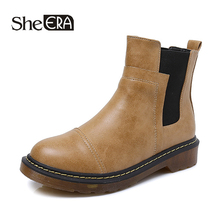 New Fashion Women Boots Casual Women Ankle Boots Gray/Black/Ochre Retro Female Shoes Spring/Autumn/Winter Lady Shoes She ERA
