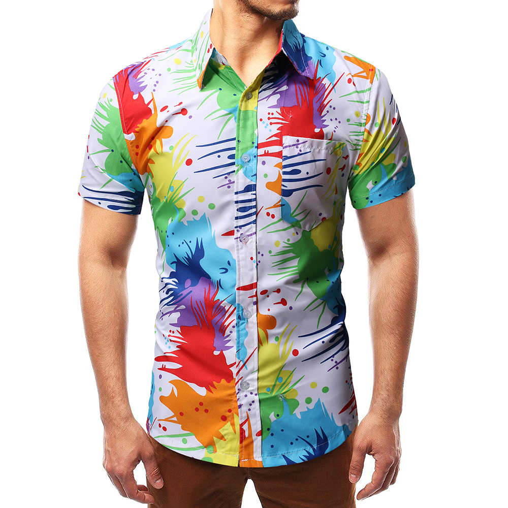 Heren Zomer Beach Hawaiian Shirt 2019 Merk Korte Mouw Shirtsmen Kleding Camisas Fit Slim Afdrukken Tops Blouse Vuurwerk Duurzaam In Gebruik