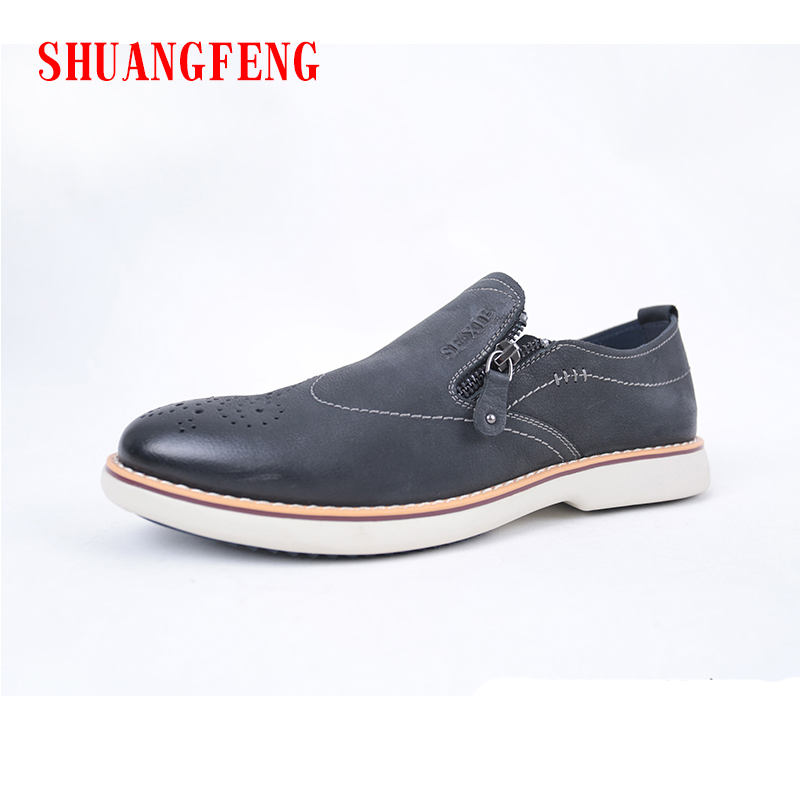 SHUANGFENG Brand Size 38-44 Men Casual Shoes New Fashion Genuine Leather Shoes for Men Thich Sole Men's Flat Shoes Mans Footwear new 2017 mens white color genuine leather slip on flat casual shoes cool guys brand hip hop shoes size 38 44