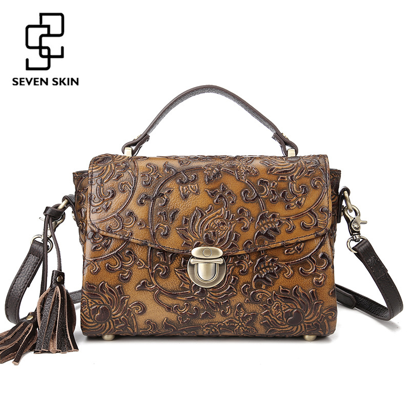 SEVEN SKIN Brand 2017 Vintage Women Messenger Bag Genuine Leather Shoulder Bag Flower Printing Female Luxury Handbag with tassel vvmi 2016 new women handbag brand design rivet suede tassel bag chic classic vintage saddle bag single shoulder bag for female