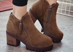 Negro Tacón Zapatos Botas marrón Martin De Alto Para Marea Pequeños 2018 Estudiantes Salvajes Más Terciopelo Coreanos Nuevas qZfWvwant