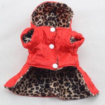 Bonito Topos Vestido Filhote de Cachorro Animais De Estimação Cães Leopardo Trajes de Algodão Com Capuz Roupas XS-XL