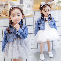 New 2018 Autumn Girls Denim Dress Baby Girl Clothing Set Fashion Girls Dress Denim Jacket Suit