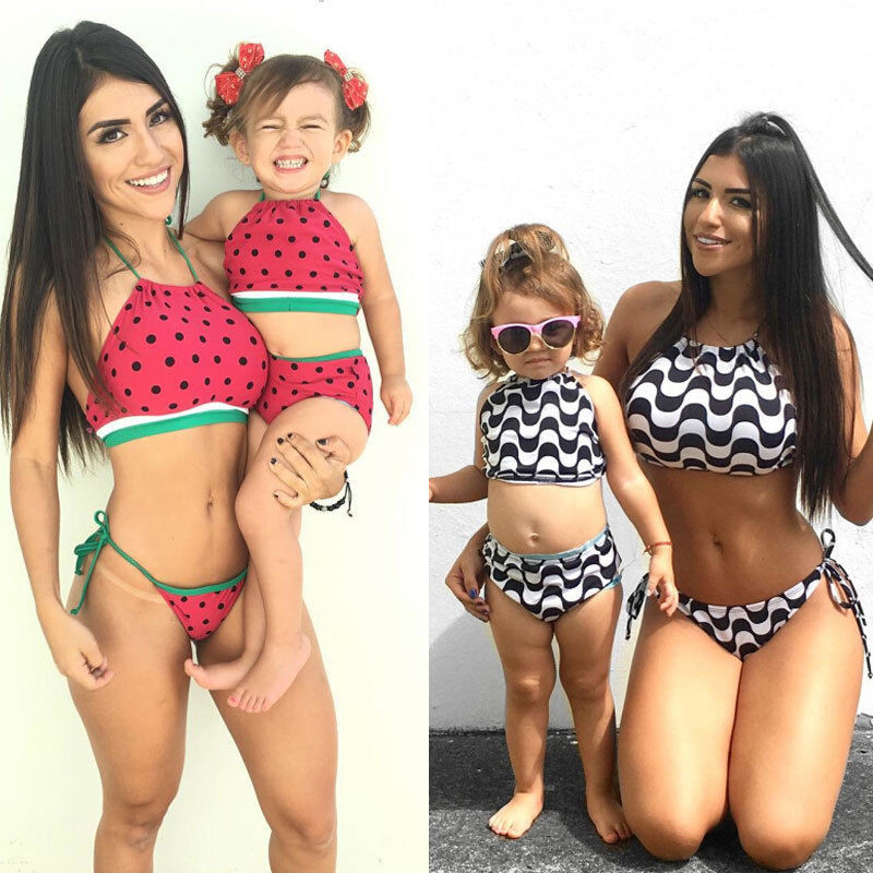 2017 Summer Family Match Swimsuit Hot Mother and Daughter Bow Striped Bikini Set Toddler Kids Swimming Swimwear Low Waist Biquni