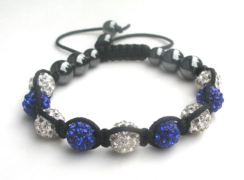 Женская мода ручной работы 10 мм AAA серебряные и синие глиняные бусины черные гематитовые бусины регулируемый браслет украшение