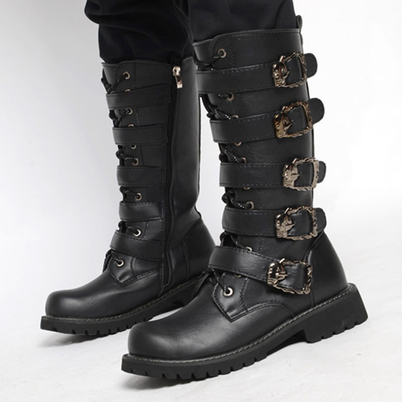 Aliexpress.com : Buy Road Track 2017 Men Black Retro Combat Boots ...