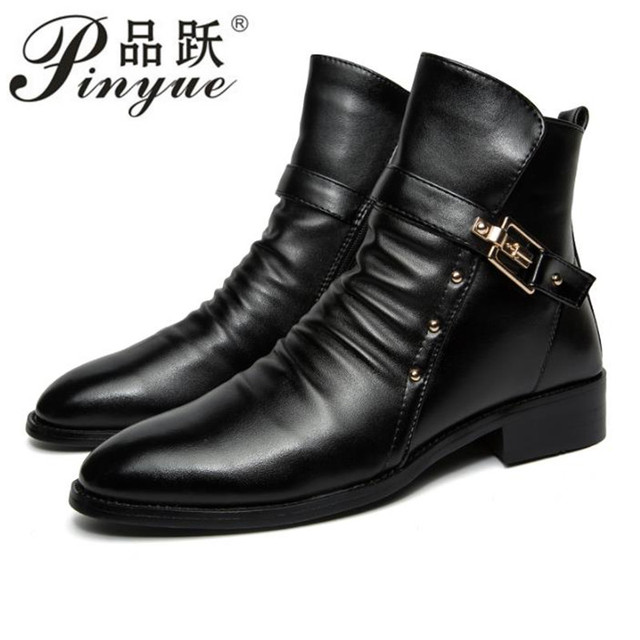Increase Men Boots Zip Buckle 2018 Boots PU Men Ankle Boots Bota Masculina Raised leather boots with pointed toes