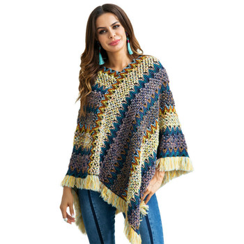 Winter loose pullover V-neck bat-style cloak large size rainbow Tassels sweater female pullover sweater women pull femme hiver 10