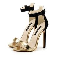 Sandalia Feminina Summer Concise Women S Sandals Shoes High Heel Stiletto Ankle Strap Pump Gold Silver