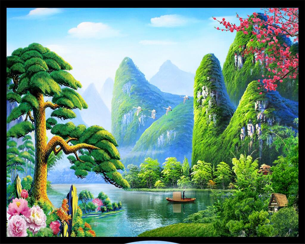 Beibehang Custom Wallpaper Chinese Landscape Painting Green Mural Home Decoration Living Room Bedroom 3d In Wallpapers From