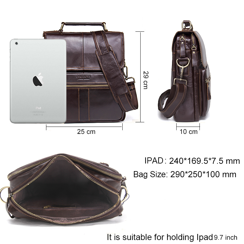 CONTACT'S Brand Design Genuine Leather Shoulder Bag Men Crossbody Messenger Bags Vintage Men's Handbag Bolsos Male For 9.7 3