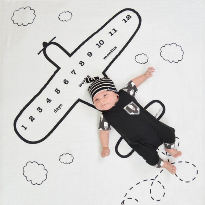 Newborn Baby Monthly Growth Milestone Blanket Swaddle Wrap Letter Cartoon Print Background Photography Prop Infant Bathing Towel