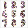 "New Come 16"" Colorful Polka Dot Number Foil Balloons 0-9 Number Air Ballon Baby Birthday Party Wedding Decorations Kid's Toys"