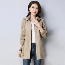 2019 Spring Autumn New Female Windbreaker Coats Korean Solid color Fashion Leisure Outerwear Large Size Hooded Women Jacket N732(China)
