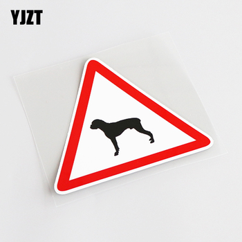 YJZT 10.8CM*9.3CM Fashion Reflective BOXER DOG Warning Mark PVC Car Window Sticker Decal 13-0785 image