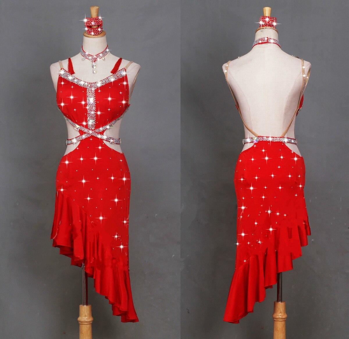 Здесь продается  Latin Dance Dress Slanetd dress hem Performance Serve Match Serve Train Thin Gules Sexy Bandage backless  Одежда и аксессуары