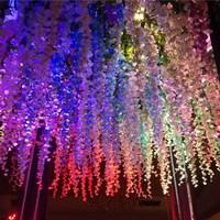 1 SET 12pcs 110 cm Artificial Silk Wisteria Fake Garden Hanging Flower Plant Vine Home Wedding Party Event Decor VBQ49 P30