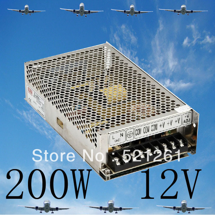 DIANQI power supply 200w 12V 16.5A  power suply 12v 200w ac to dc power supply unit ac dc converter  high quality S-200-12 original power suply unit ac to dc power supply nes 350 12 350w 12v 29a meanwell