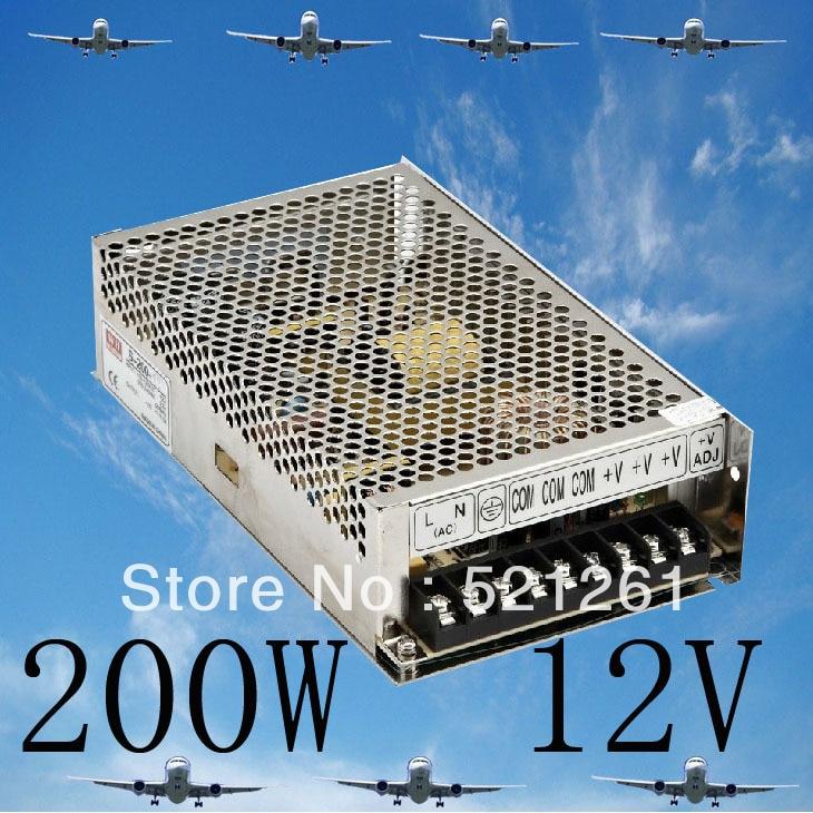 DIANQI power supply 200w 12V 16.5A  power suply 12v 200w ac to dc power supply unit ac dc converter  high quality S-200-12 1pcs 60w 12v 5a power supply ac to dc power suply 12v 60w power supply 100 240vac 111 78 36mm