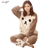 Frauen Pyjama-sets 2017 Herbst winter Flanell Cartoon Warme Pyjamas Frauen Homewear Tier Nachtwäsche Katze weiblichen pyjama