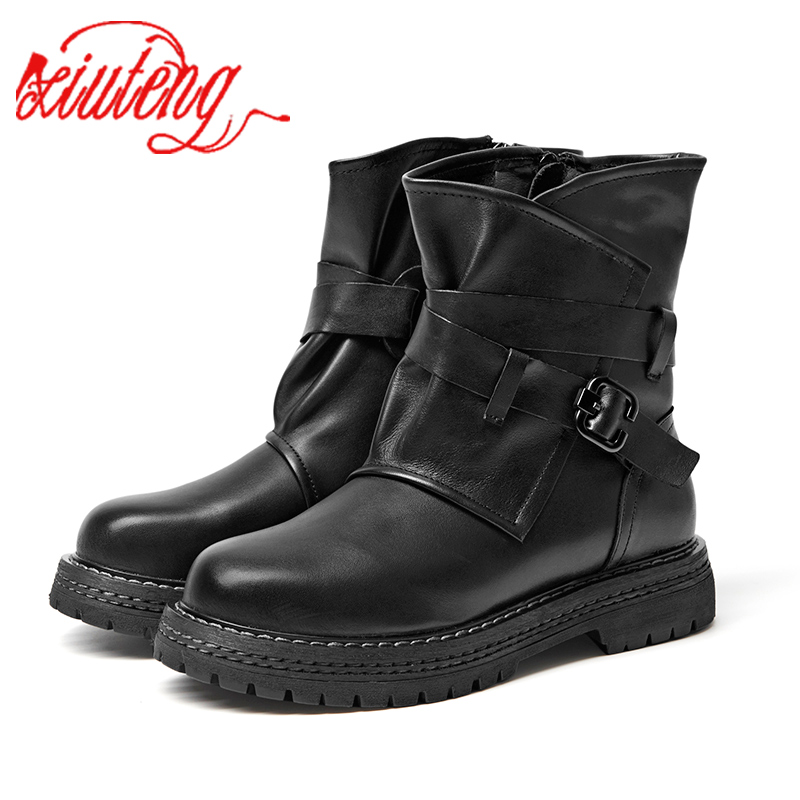 Xiuteng Brand Flat with Shoes Woman Boots 100 Genuine Leather Women Boots 2019 Chic Motorcycle Boots