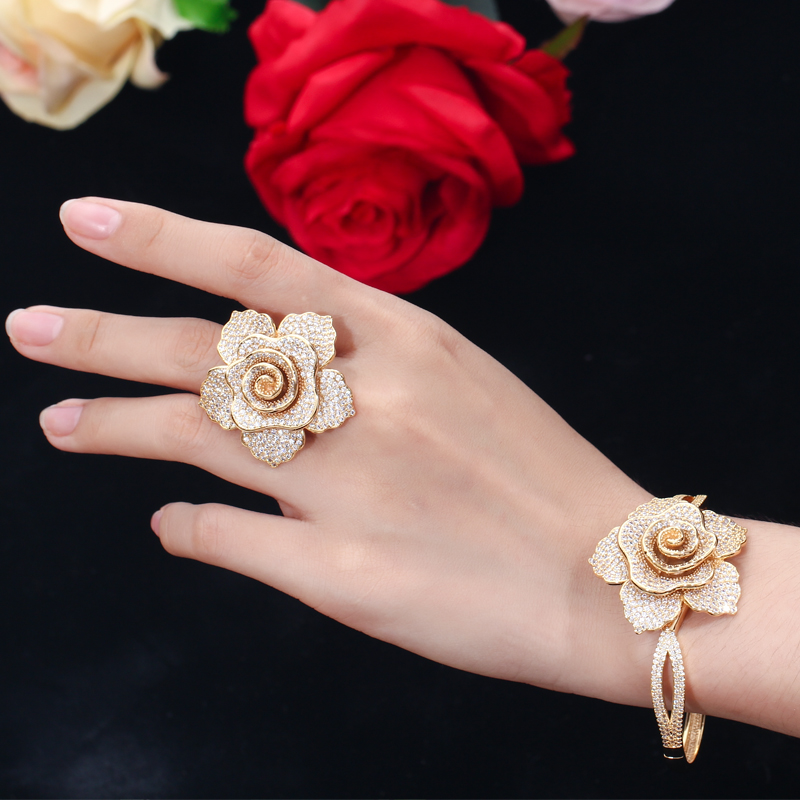 CWWZircons Open Cuff Style Cubic Zirconia Yellow Gold Color Big Geometric Flower Bangles Luxury Brand Jewelry for Women BG021 HTB1KAChXELrK1Rjy1zbq6AenFXav