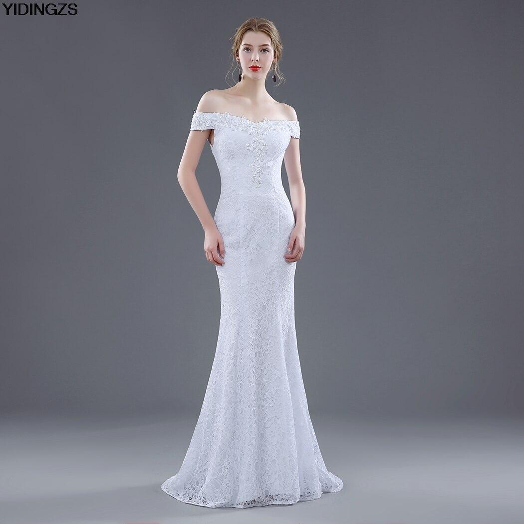 YIDINGZS Real Photos White Ivory Elegant Lace Sexy Mermaid Wedding Dresses 2018 Cheap Vestido De Noiva Hot Sale