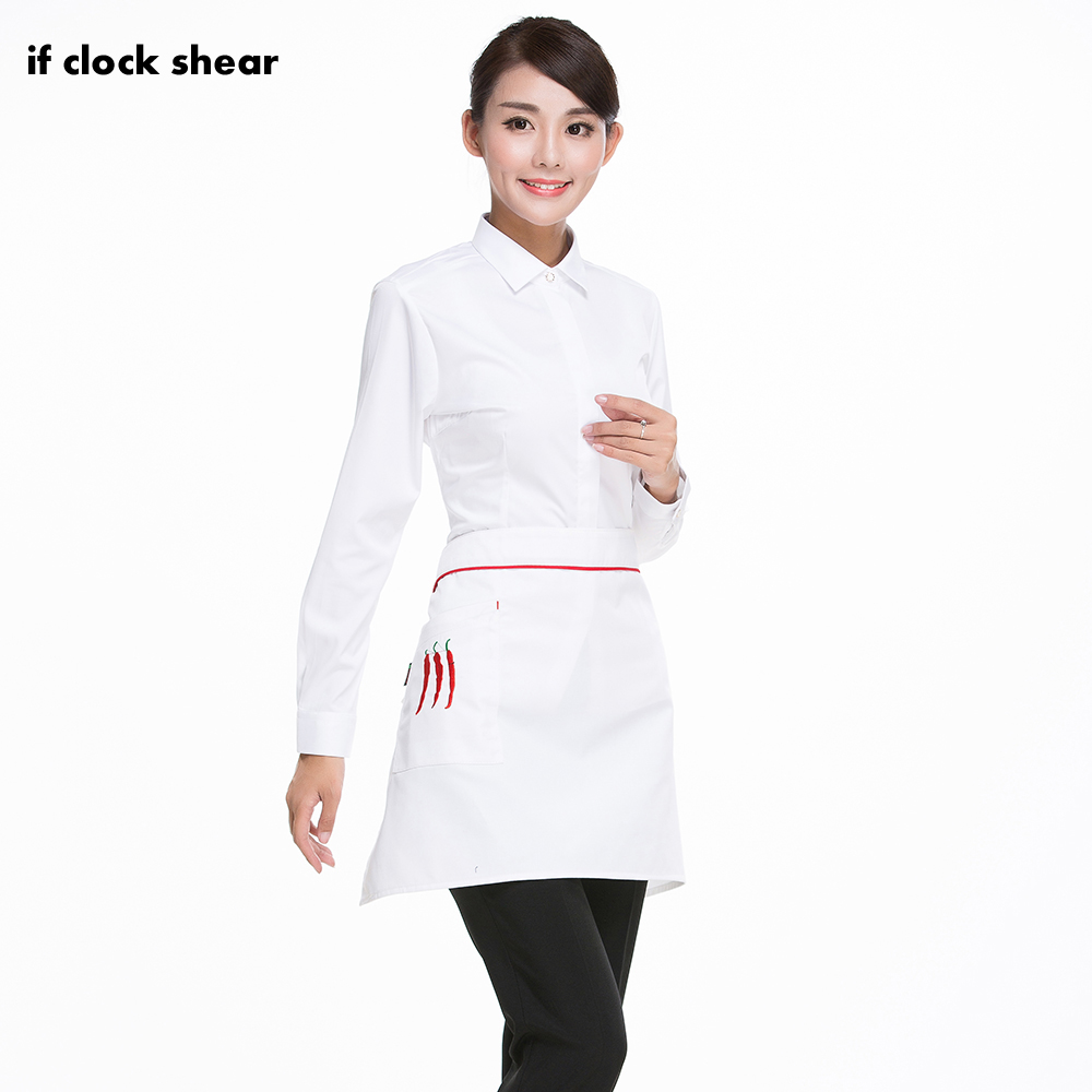 Embroidery Universal Unisex Kitchen Cooking Hotel Chef Aprons Chef Uniforms Waist Apron Short Apron With Pockets Chef Pants Men