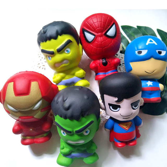 Super Hero PU Squishy Slow Rising Toy Spiderman Iron Man Squishies Toy Jumbo Squeeze Stress Relief Toys For Kid
