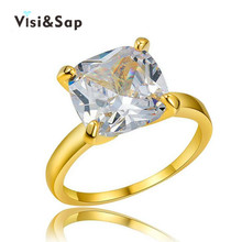 Visisap Large Stone Ring 8ct Big Cubic Zirconia Rings for women wedding Trendy Jewelry luxury Accessories