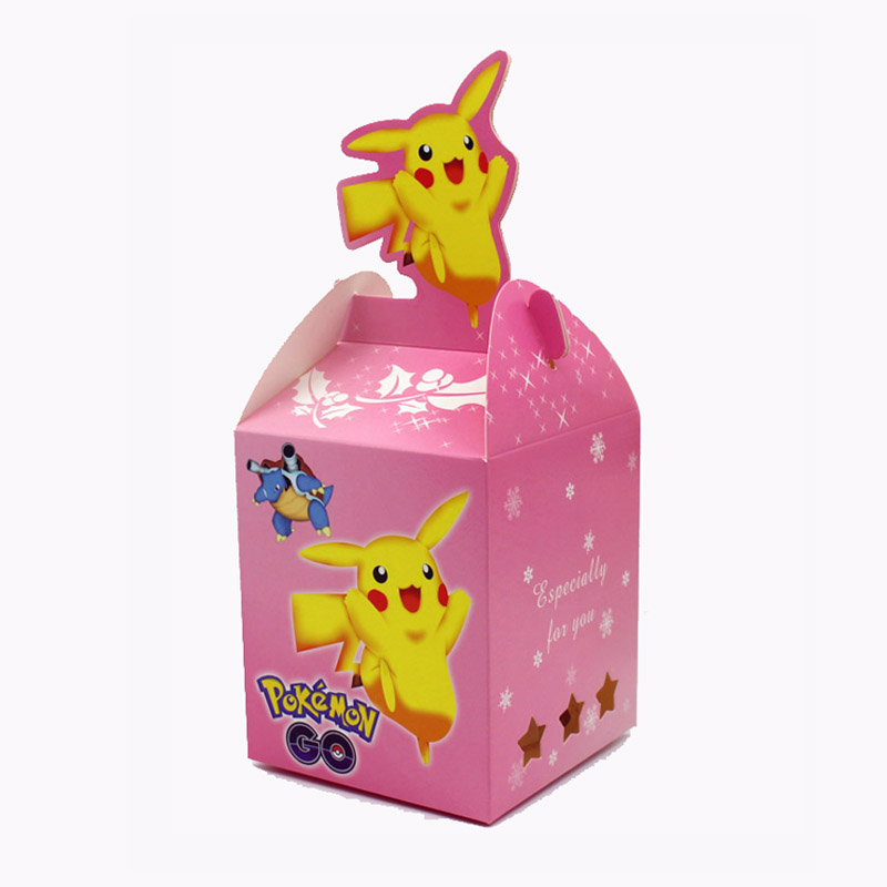 Free Shipping 10 X Pokemon Candy Box Kids Birthday Party Gift Box Christmas Apple Box Party Deco Supply